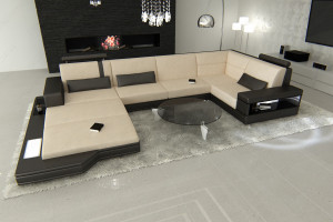 Design Fabric Sofa Los Angeles U Shaped ivory - Mineva 1