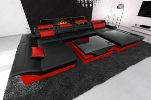 Design sofa Chicago U Shape black-red