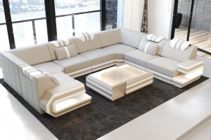 Luxury Sofa San Antonio U Shaped beige-white