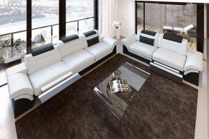 Modern Sectional 3-2-1 Chicago white-black