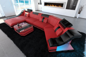 modern leather sofa c shape with LED Lights red-black