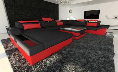Big Fabric Sectional Sofa Orlando XL LED black - Mineva 14