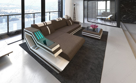 Luxury Sofa Hollxwood with LED Lights and USB brown - Hugo 8