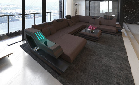 Fabric Sofa Hollywood XL Shape LED with USB connection brown - Hugo 10