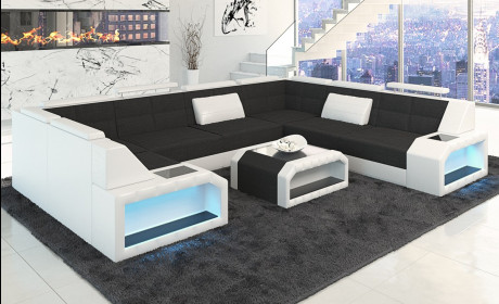 Design Sectional Fabric Sofa San Jose U Shape in Hugo 14 - black