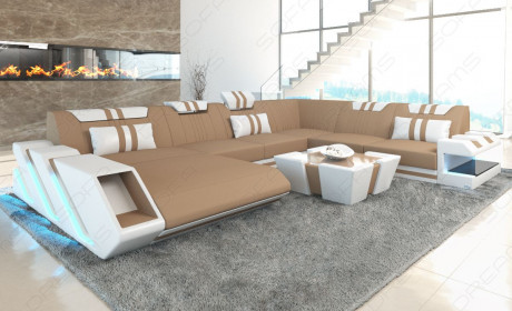 Luxury Fabric Sofa New Jersey with LED lightbrown - Mineva 9
