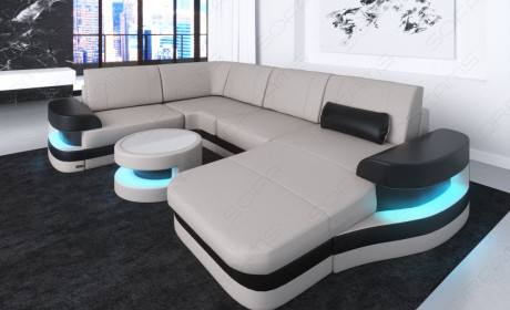 Design Sectional Sofa Tampa with USB Port - beige-white