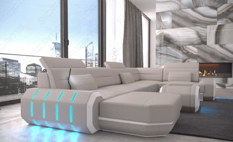 Leather Sofa Brooklyn LED lights - beige-white