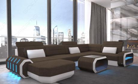fabric leather mix sofa Brooklyn U Shape - Hugo 8