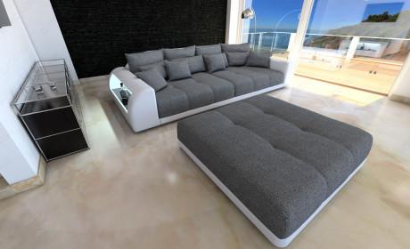 XXL Fabric Sofa Miami with LED Lights grey - Hugo 5