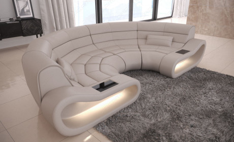 Genuine Leather Sofa Concept U Shape with LED lights - beige