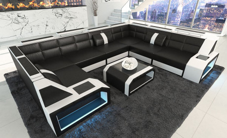 leather sofa Houston U Shape with LED white