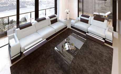 Modern Sofa 3 and 2 seater LED white-darkbrown