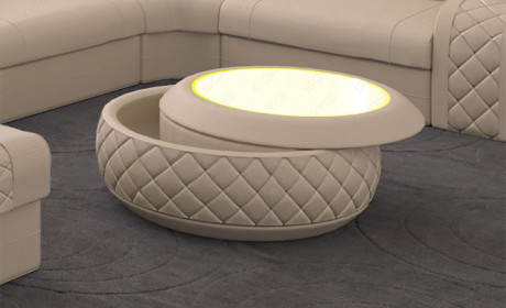 Coffee table leather Charlotte with LED lighting in beige