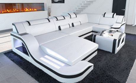 Modern Leather Sofa Detroit With LED Lights white-black