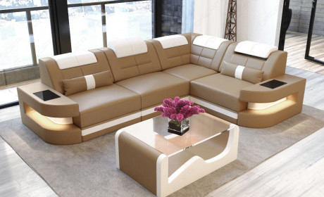 Sofa Couch Luxury Denver L-Shape with LED - sandbeige-white