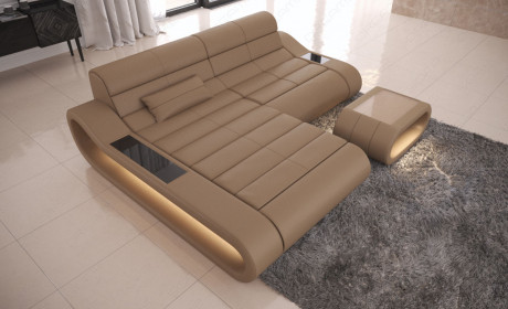 Modular Sectional Sofa Concept L Short with LED lights - sandbeige