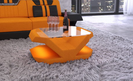 Fabric Mix Coffee Table Beverly Hills with LED- black- Mineva 16