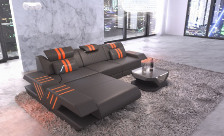 Leather sofa modern L Shape cornercouch with lights - gray