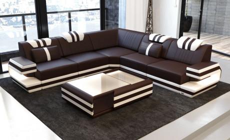 Design Sofa Hollywood L Shaped white-black