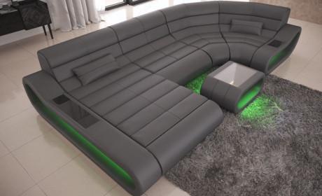 Modular Leather Sofa Concept U Shape LED lights - grey