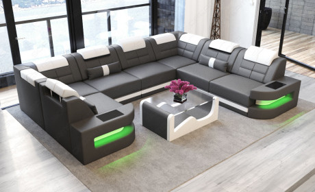 Leather Sectional Sofa Denver U-Shape with LED - grey-white