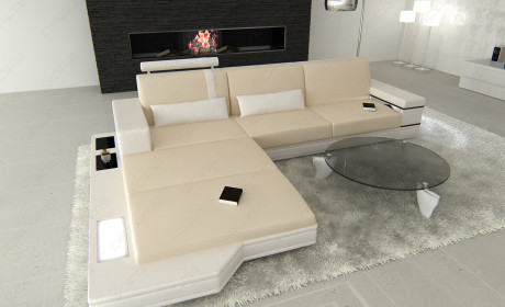Modern Fabric Sofa Los Angeles L with Lights creme - Mineva 1