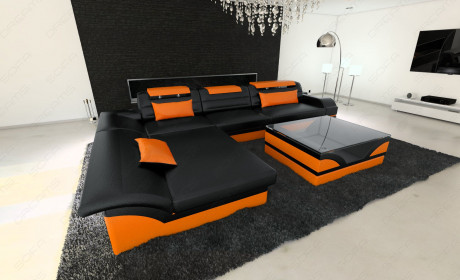 luxury sofa chicago L Shape black-orange