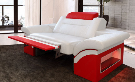 Modern Armchair Chicago with LED Lights (white-red)