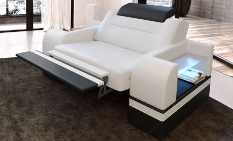Leather armchair San Francisco LED in white-black