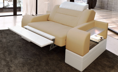 Designer armchair modern San Francisco LED in with opt. relax function - sandbeige Mineva 4