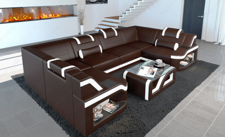 Leather Sectional Sofa Manhattan U shape dark brown-white with LED lights