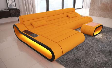 Big Luxury Sofa Concept LED lights - orange Fabric Mineva 16