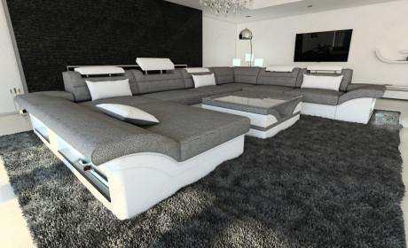 Fabric sectional Sofa Atlanto with LED lightgrey - Hugo 5