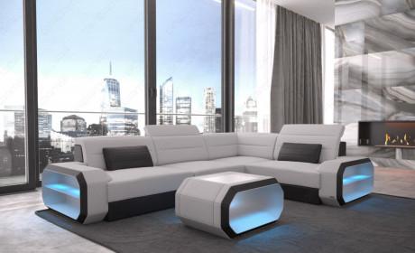 Modern Sectional Sofa Seattle LED lights - Fabric Mineva 2