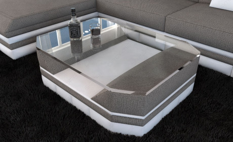 Fabric Coffee Table New York with glass plate lightgrey - Hugo 3