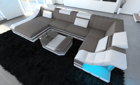 Modern Fabric Sofa New York with LED white-grey (hugo 3)