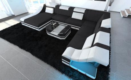 Luxury Fabric Sofa New York XL white-grey ( Mineva 8)