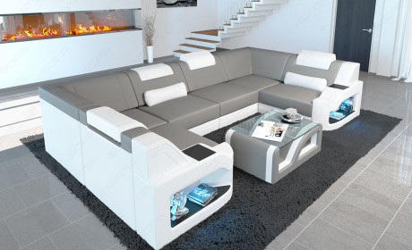 Upholstered sofa Manhattan U shape with LED lighting in microfibre fabric Mineva 12 - light grey