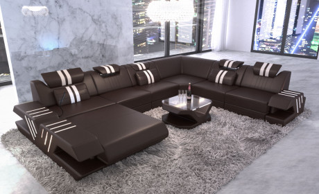 Big sectional sofa Beverly Hills XXL leather dark brown