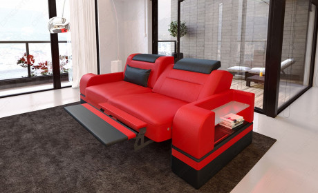 Two-seater couch San Francisco with optional relax function and LED lighting - red
