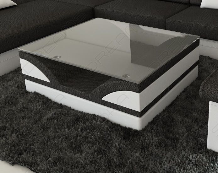 Fabric Coffee Table Chicago with glass plate grey - Hugo 12