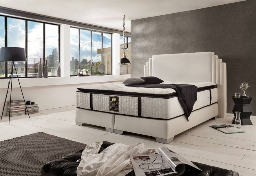 Luxurious Boxspring Bed Rio in champagne