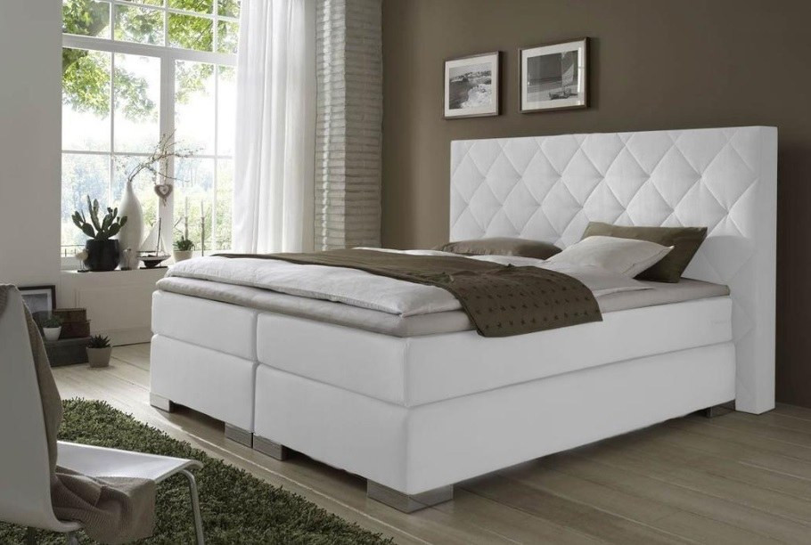 Boxspringbed Mirage with pattern in creme