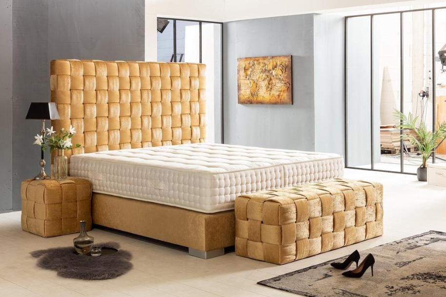 Boxspring Bed California in Gold