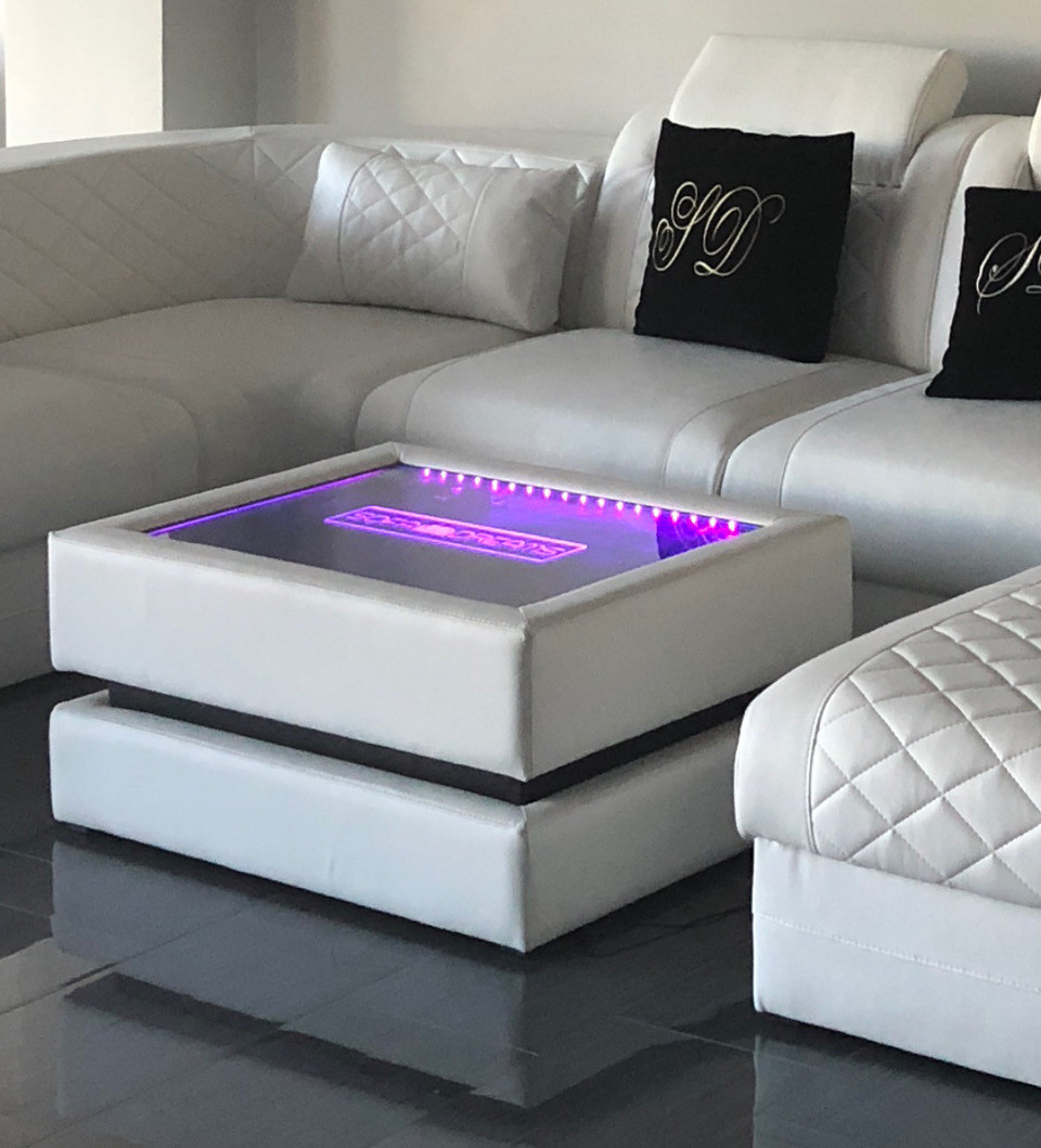 Coffe Table Heat with LED Lighting and Engraving