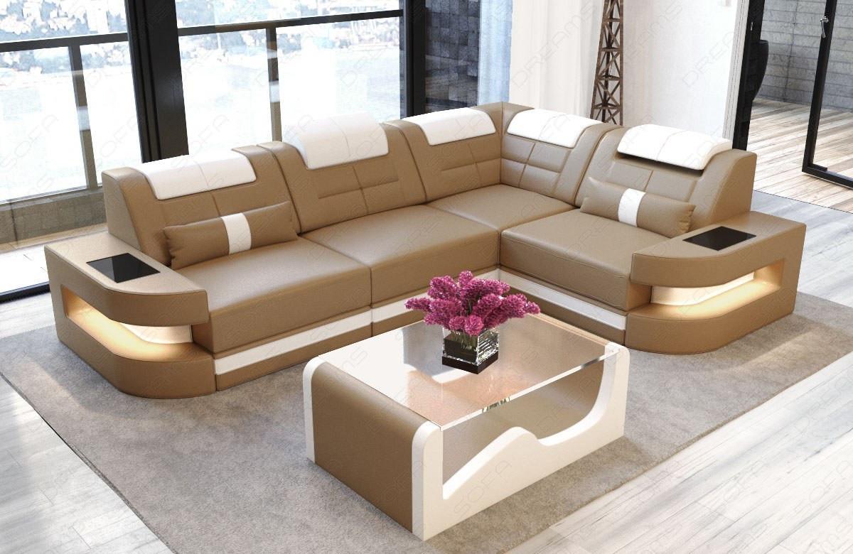 sofa couch luxury denver l shape with led sandbeige white. Black Bedroom Furniture Sets. Home Design Ideas