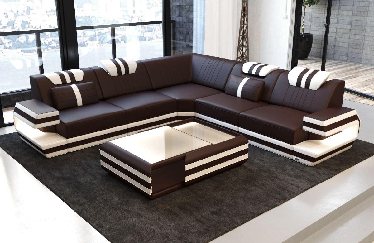 Picture of: Design Laedersofa Antonio L Form Sofa Med Led Lys Moderne Stil Med Led Og Usb Sofadreams