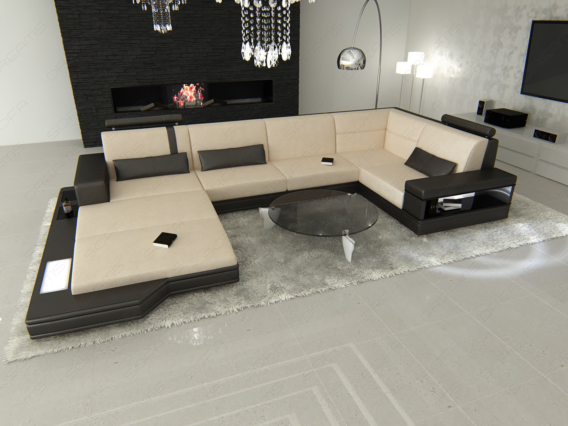 Design Fabric Sofa Los Angeles U Shaped Ivory Mineva 1