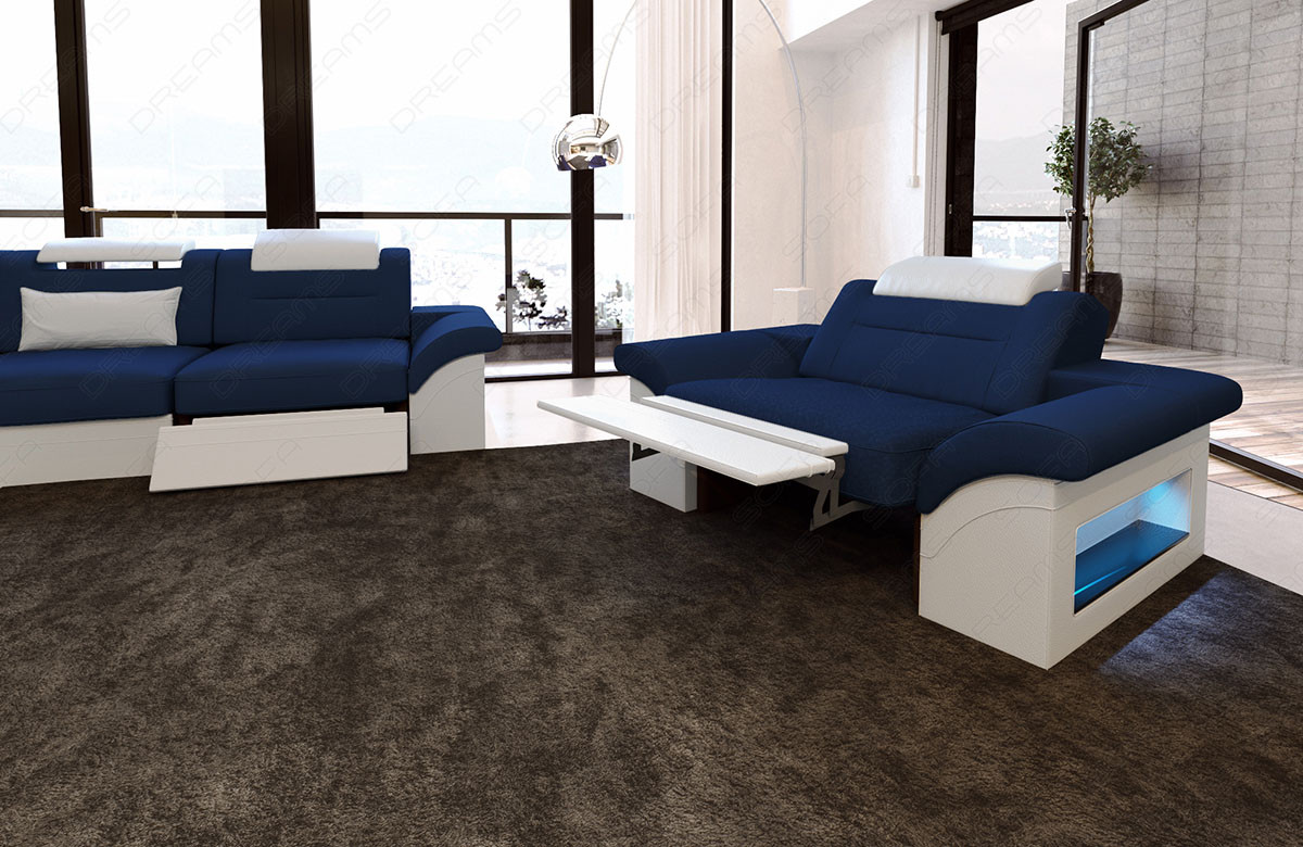 fabric chicago microfibre couch set with recliner led blue mineva 17. Black Bedroom Furniture Sets. Home Design Ideas